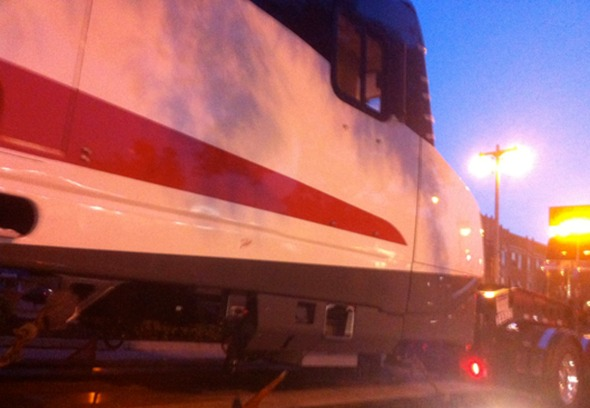 Talgo train being shipped